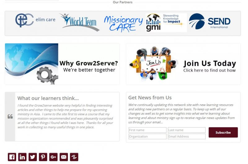 Middle section of Grow2Serve home page