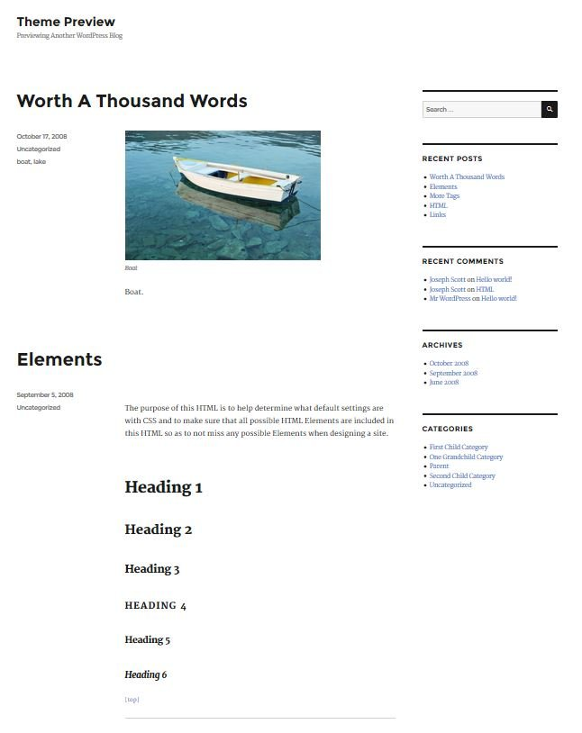 WordPress 4.4 default theme