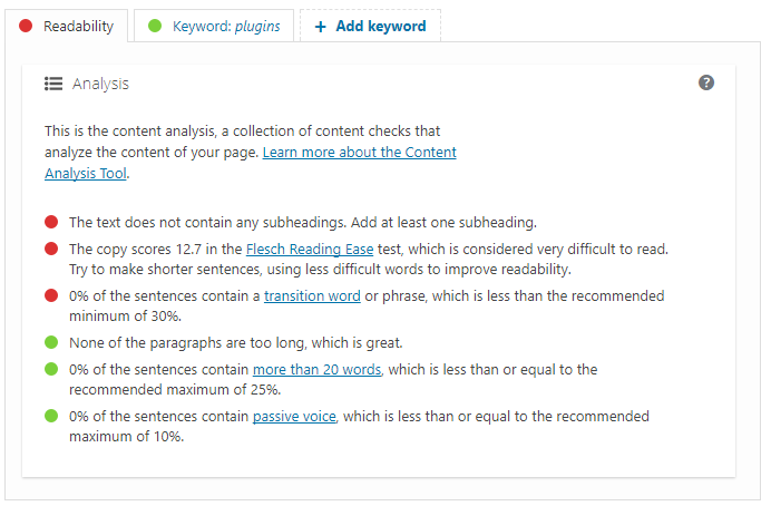 Readability analysis in Yoast SEO