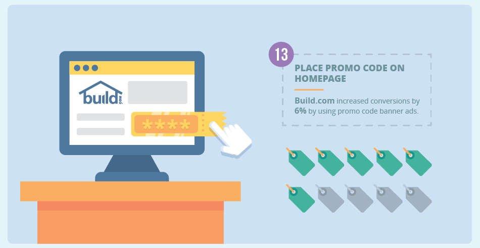 promo code on homepage
